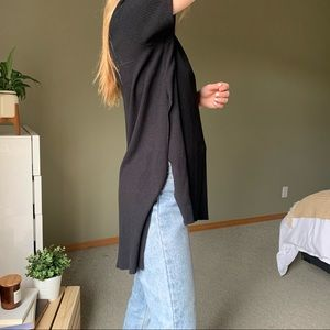 Brandy Melville Soft Ribbed High Low Slit Tunic